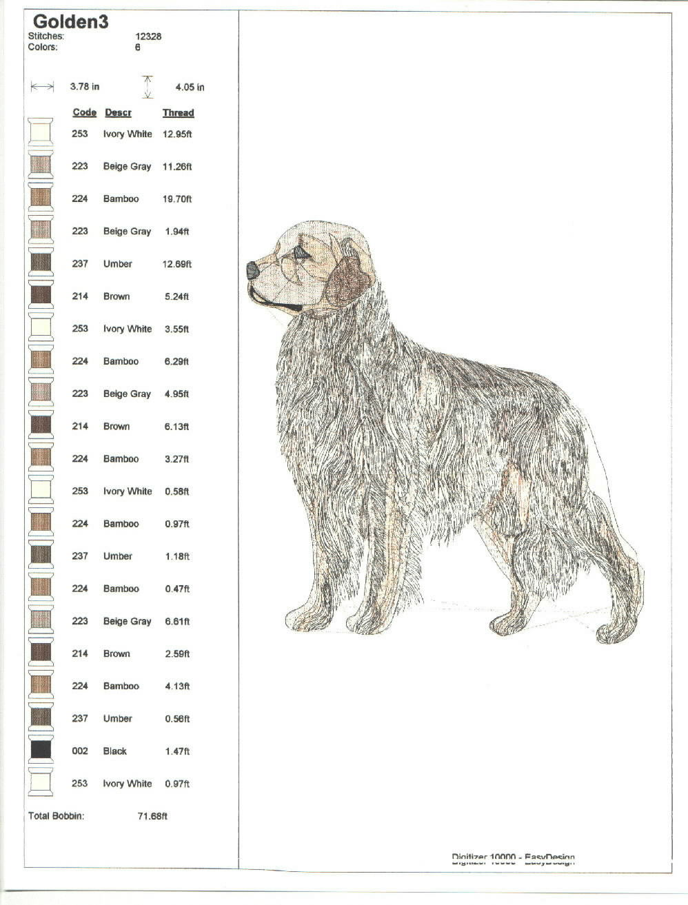Those wonderful dogs color chart using janome threads nvjuhfo Image collections